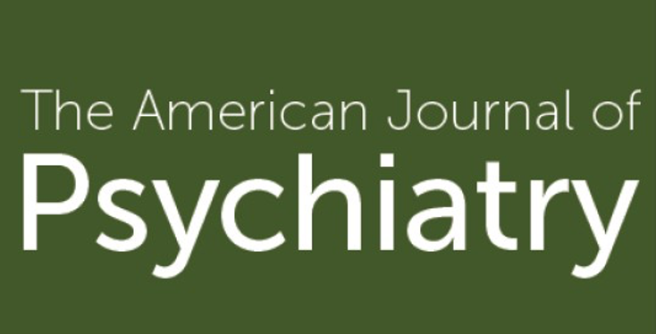 The American Journal of Psychiatry logo with those words in simple text on a green background.