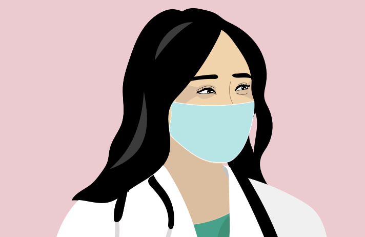 An illustration of the profile of a doctor wearing a face mask